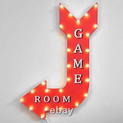 36 GAME ROOM Light Up Metal Arrow Sign Marquee Vintage Arcade Games Gameroom