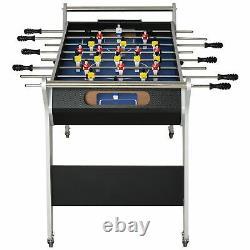 4.8ft Indoor MDF Football Table Arcade Game Room Full Size Foosball Black Silver