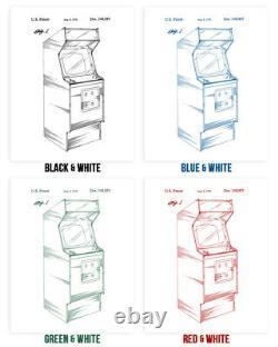 Arcade Patent Posters Set of 4 Arcade Blueprint Video Game Art Game Room Decor