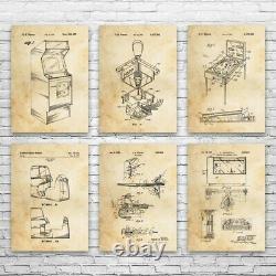 Arcade Patent Posters Set of 6 Arcade Blueprint Video Game Art Game Room Decor