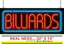 Billiards Neon Sign Jantec 32 x 13 Pool Hall Pool Table Game Room Arcade