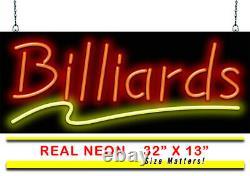 Billiards Neon Sign Jantec 32 x 13 Pool Table Pool Hall Arcade Game Room