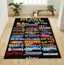 Classic 80s Arcade Game list Area Rug, Game Room Decorative Floor Rug Carpet