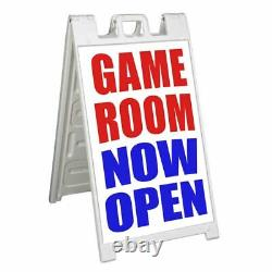 GAME ROOM NOW OPEN Signicade 24x36 Aframe Sidewalk Sign Banner Decal ARCADE