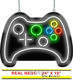 Game Controller Neon Sign Jantec 24 x 18 Gaming Room Arcade Store Video