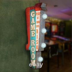 Game Room With Arrow Retro Double Sided Metal Sign With LED Lights, Arcade, Man Cave