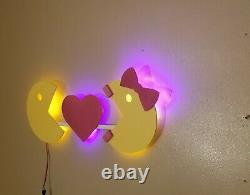 LED lighted Super Sized Arcade Pac Man and Ms Pac Man sign Game room, Retro, Man
