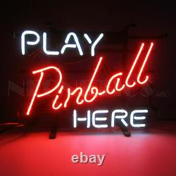 Neon Sign Play Pinball here Home Arcade Game room wall lamp hand blown glass New