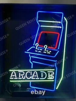 New Arcade Machine Game Room 24x20 Neon Light Sign Lamp Black Acrylic Box Bar