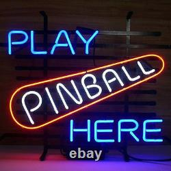 New Play Pinball Here Arcade Game Room Beer Neon Sign 20x16