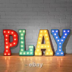 PLAY Marquee Sign Plug-In Letters Light Up Kids Game Room Arcade Man Cave Fun