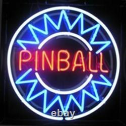 Pinball Game Room Arcade Neon Sign 17x17 Light Lamp Beer Bar Decor Real Glass