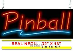 Pinball Neon Sign Jantec 32 x 13 Arcade Antique Store Game Room Man Cave