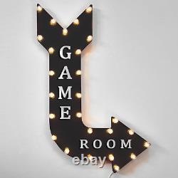 36 Jeu Chambre Light Up Metal Arrow Sign Marquee Vintage Jeux D'arcade Salle De Jeux