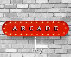 39 Arcade Game Room Jouer Pinball Vintage Rustic Metal Marquee Light Up Sign