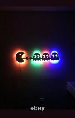 Arcade Pac Homme Éclairé Panneau Led Salle De Jeu, Rétro, Grotte De L'homme, Chambre, Lumière De Nuit