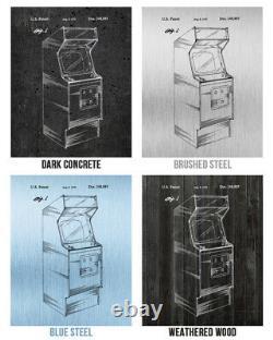 Arcade Patent Posters Set De 4 Arcade Blueprint Jeu Vidéo Art Game Room Decor