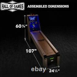 Arcade Skeeball 9' Game Room Table Avec Led Scorer Lights Sound Effects & 4 Balls