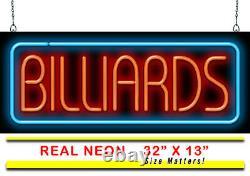 Billards Neon Sign Jantec 32 X 13 Pool Hall Pool Table Game Room Arcade