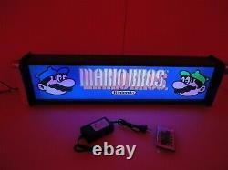 Mario Brothers Marquee Jeu / Rec Room Led Display Boîte Lumineuse