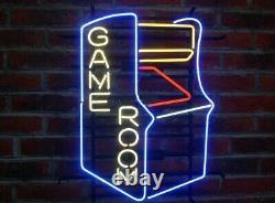 Nouveau Game Room Arcade Neon Light Sign 17x14 Beer Cave Cadeau Bar Real Glass