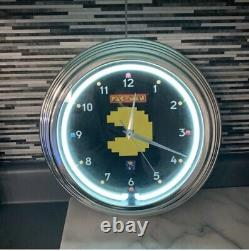 Pacman Neon Horloge Arcade New In Box For Man Cave Arcade Game Room Midway Bandai