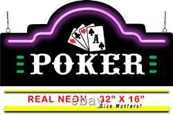 Poker Neon Signe Jantec 32 X 16 Game Room Cards Entertainment Arcade Bar