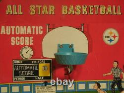 Rare Années 1950 Marx Allstar Marx-o-matic Tin Basketball Game Arcade Game Room Toy