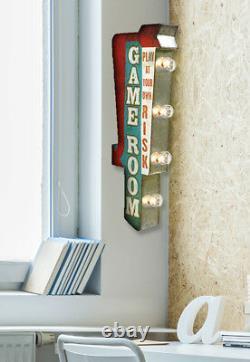 Salle De Jeu Avec Arrow Retro Panneau Métallique Double Face Avec Lumières Led, Arcade, Grotte De L'homme